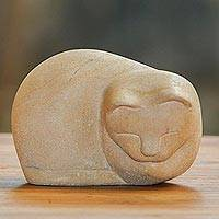 Limestone sculpture, 'Sleeping Cat' - Handcrafted Limestone Sculpture of a Cat from Bali
