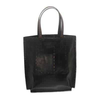 Black Leather Tote Bag with Accent Stitching from Indonesia