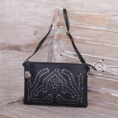 Leather shoulder bag, Shimmering Morning in Black