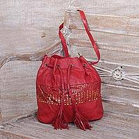 Leather sling, 'Glittering Dew in Crimson' - Adjustable Leather Sling Handbag in Crimson from Java