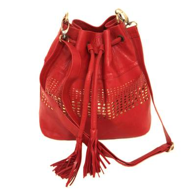 Adjustable Leather Bucket Bag in Crimson from Java