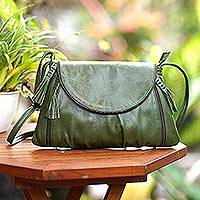 Leather sling, 'Beautiful Country in Olive' - Handcrafted Adjustable Leather Sling in Olive from Java