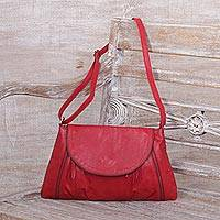 Leather sling, 'Beautiful Country in Crimson' - Handcrafted Adjustable Leather Sling in Crimson from Java
