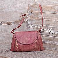 Leather sling, 'Beautiful Country in Deep Rose' - Handcrafted Adjustable Leather Sling in Deep Rose from Java