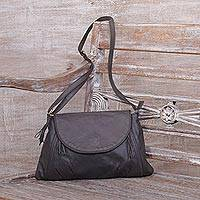 Leather sling, 'Beautiful Country in Slate' - Handcrafted Adjustable Leather Sling in Slate from Java