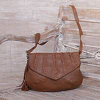 Leather shoulder bag, 'Pesona in Brown' - Brown Leather Shoulder Bag with Faux Suede Lining from Java