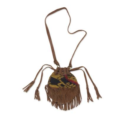 Brown Fringed Leather Shoulder Bag with Cotton Ikat Pattern