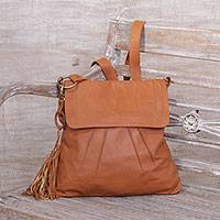 Leather sling, 'Burnt Orange Attraction' - Adjustable Leather Sling in Burnt Orange from Java