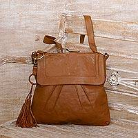 Leather sling, 'Chestnut Attraction' - Handcrafted Pleated Leather Sling in Chestnut from Java