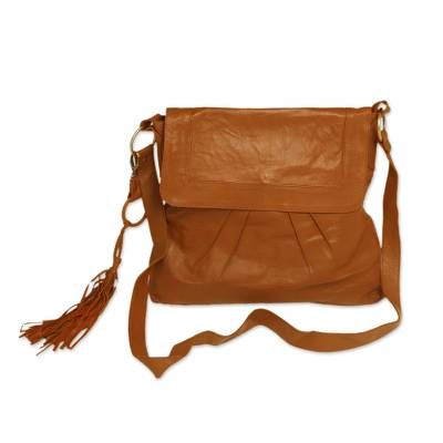 Handcrafted Pleated Leather Sling in Chestnut from Java