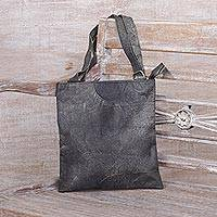 Leather sling, 'Jogja Night' - Handcrafted Leather Sling Handbag in Slate from Java