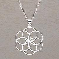 Sterling silver pendant necklace, 'Six Rings' - Sterling Silver Circle Motif Pendant Necklace from Bali