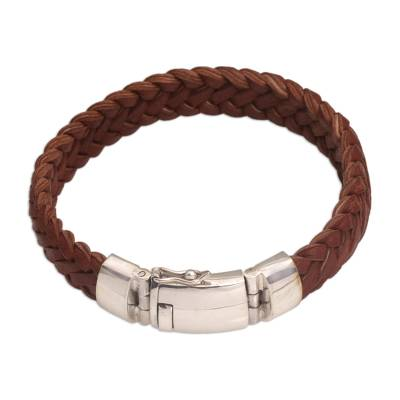 Braided Leather Wristband Bracelet in Brown from Bali