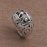 Sterling silver dome ring, 'Lion Domain' - 925 Sterling Silver Lion Dome Ring from Bali