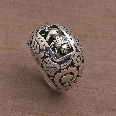 26 silver chain - 925 Sterling Silver Lion Dome Ring from Bali