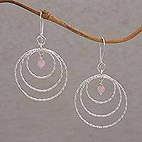 Rose quartz dangle earrings, 'Gleaming Rings' - Sterling Silver and Rose Quartz Dangle Earrings from Bali