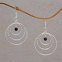 Onyx dangle earrings, 'Gleaming Rings' - Onyx and 925 Sterling Silver Dangle Earrings from Bali