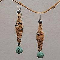 Glass beaded batik cotton dangle earrings, 'Sarong Beauty' - Glass Beaded Batik Cotton Dangle Earrings from Bali