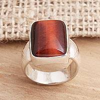 Tiger's eye single stone ring, 'Colors of Earth' - Tiger's Eye and Sterling Silver Single Stone Ring from Bali