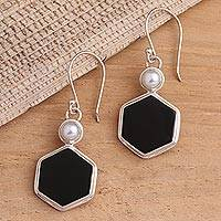 Onyx and cultured pearl dangle earrings, 'Light and Dark Hexagons' - Onyx and Cultured Pearl Hexagonal Dangle Earrings from Bali