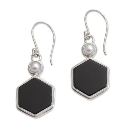 Onyx and Cultured Pearl Hexagonal Dangle Earrings from Bali