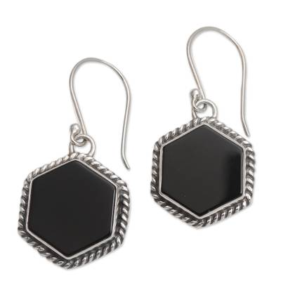 Onyx and Sterling Silver Hexagonal Dangle Earrings from Bali
