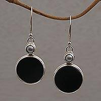 Onyx and cultured pearl dangle earrings, 'Light and Dark Circles' - Onyx and Cultured Pearl Circular Dangle Earrings form Bali