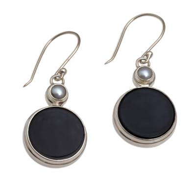 Onyx and Cultured Pearl Circular Dangle Earrings form Bali