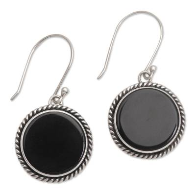 Onyx and Sterling Silver Circular Dangle Earrings form Bali