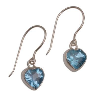Blue Topaz Heart-Shaped Dangle Earrings from Bali