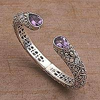 Gold accent amethyst cuff bracelet,