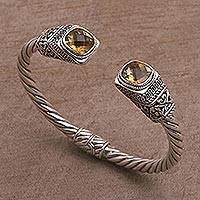 Citrine cuff bracelet, 'Batuan Glitter' - Citrine and Sterling Silver Rope Design Bracelet from Bali