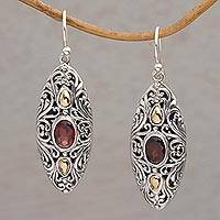 Gold accent garnet dangle earrings, 'Shields of Vines' - 18k Gold Accent Garnet Dangle Earrings from Bali