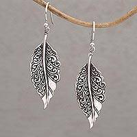 Sterling silver dangle earrings, 'Leaf Mystique' - Sterling Silver Swirling Leaf Dangle Earrings from Bali
