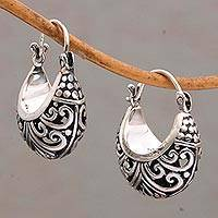 Sterling silver hoop earrings, 'Stupa Vines' - Sterling Silver Swirling Hoop Earrings from Bali