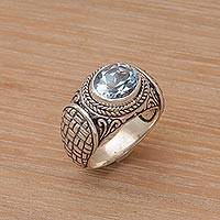 Blue topaz single stone ring, 'Woven Vine' - Blue Topaz Weave Motif Single Stone Ring from Bali
