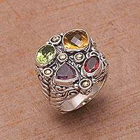 Gold accented multi-gemstone cocktail ring, 'Rainbow Palace' - Gold Accent Multi-Gemstone Cocktail Ring from Bali