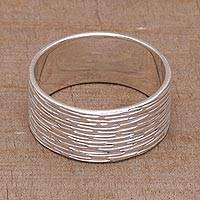 Sterling silver band ring, 'Elegant Mist' - Sterling Silver Shimmering Band Ring from Bali