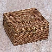 Ate grass decorative box, 'Natural Mataram' - Handcrafted Ate Grass Square Decorative Box from Bali