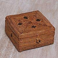 Ate grass decorative box, 'Trawangan Secret' - Brown Ate Grass Handcrafted Decorative Box from Bali