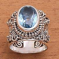 Blue topaz single stone ring, 'Glorious Vines' - Blue Topaz and Sterling Silver Single Stone Ring from Bali