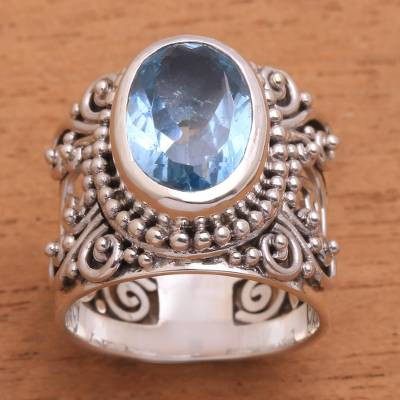 Blue Topaz and Sterling Silver Single Stone Ring from Bali