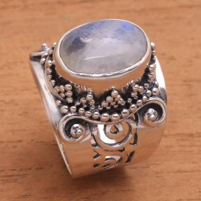 Rainbow moonstone cocktail ring, Glorious Vines