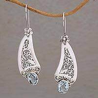 Blue topaz dangle earrings, 'Beautiful Vines' - Blue Topaz Vine Motif Dangle Earrings from Bali