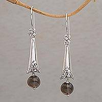 Smoky quartz dangle earrings, 'Floral Cones' - Smoky Quartz and 925 Silver Floral Dangle Earrings from Bali