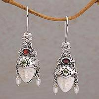 Multi-gemstone dangle earrings, 'Jepun Prince' - Multi-Gemstone Face-Shaped Dangle Earrings from Bali