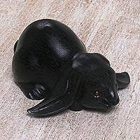 Wood sculpture, 'Begging Rabbit in Black' - Handcrafted Suar Wood Rabbit Sculpture in Black from Bali