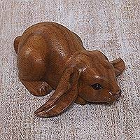 Wood sculpture, 'Begging Rabbit in Brown' - Handcrafted Suar Wood Rabbit Sculpture in Brown from Bali