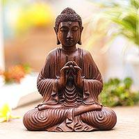 Wood sculpture, 'Buddha with Vitarka Mudra' - Handcrafted Suar Wood Buddha Sculpture from Bali
