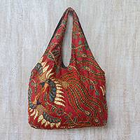 Batik cotton tote, 'Lokchan Glory' - Batik Cotton Tote in Claret with Bird Motifs from Bali
